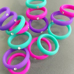 Silicon jewelry online shopping - Fast DHL shipping colors silicon rings with rhinestone women fashion party jewelry accessories lady girls ring