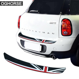 Trunk bumper proTecTor online shopping - Union Jack Car Rear Bumper Rubber Edge Protection Trunk Guard Plate Trim Protector Stickers For MINI Cooper S Countryman R60