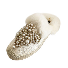 Fishermen Flats NZ - Women fashion pearls with fur Flat mules zapatos new 2019winter beading furry slippers straw knitted slides fisherman shoes 85261