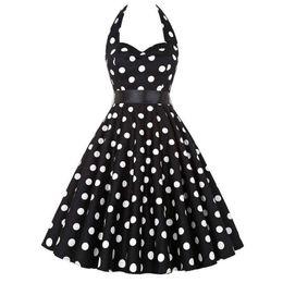 Prom Dresses Polka Dots Australia - Plus Size Polka Dot Dress Women Vintage Swing Belt Holder 50 S 60 S Rockabilly Prom Party Clothes Retro Feminino Vestidos