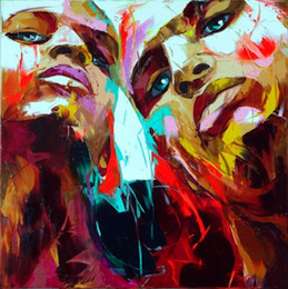 $enCountryForm.capitalKeyWord Australia - Hand painted Palette knife painting portrait Palette knife Francoise Nielly Face Abstract Oil painting Impasto figure on canvas Decor FN118