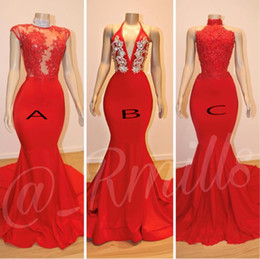 $enCountryForm.capitalKeyWord Australia - 2019 Red Prom Dresses Deep Jewel Neck Lace Applique Floor Length Open Back See Through 3 Style Evening Gowns Custom