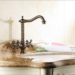 Kitchen Tap Two Faucet Australia - Bathroom Kitchen Basin sink Faucet two handle hot and cold Roman Bronze finish Basin Mixer Tap Swivel Taps H7870L