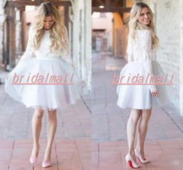 Informal garden weddIng dresses online shopping - Robe de mariage Vintage Appliqued Lace Short Wedding Dresses Full Sleeve Boho Garden s Bridal Gowns Custom Informal Reception Dress
