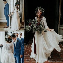 $enCountryForm.capitalKeyWord Australia - 2019 Beach vestido de novia Cheap Wedding Dresses A-Line Chiffon Ruffle Lace Top Summer Wedding Gown Custom Made Bohemian Bridal Gowns