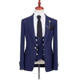 $enCountryForm.capitalKeyWord UK - Brand New Blue Black Groom Tuxedos Peak Lapel Groomsman Wedding 3 Piece Suit Popular Men Business Jacket Blazer(Jacket+Pants+Tie+Vest) 66