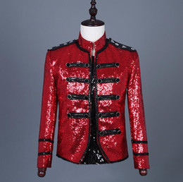 Collar Design Suits Australia - singers red sequins blazer men suits designs jacket mens stage costumes clothes dance star style dress punk rock stand collar
