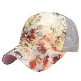 Printed Ball Caps Australia - Flower Printed Sunlight Protective Baseball Cap Fashion Gauze Breathable Hat Women Summer Baseball Caps