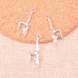 $enCountryForm.capitalKeyWord Australia - 139pcs Charms gymnastics gymnast sporter Antique Silver Plated Pendants Fit Jewelry Making Findings Accessories 30*11mm