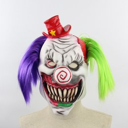 Discount red devil mask Horror Green Purple Hair Big Nose Sharp Teeth Clown With Red Hat Christmas Mask Cute Horn Devil Mask Easter Holiday Part