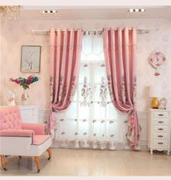 Luxury Window Cottons Australia - European luxury pink embroidery thick blackout window screen luxury floor bedroom living room finished curtain customization
