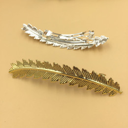 $enCountryForm.capitalKeyWord Australia - 10pcs 88*15mm Gold feather hairgrip French barrettes silver hair pin hairclip spring snap clip hairpin fashion hairwear jewelry women