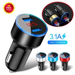 car protections Canada - Aluminum Alloy 3.1A 5V Dual USB phone charger Car Charger 3 x 6cm LED Display Quick Charging Smart Surge Protection Fuse Mode Car Charger