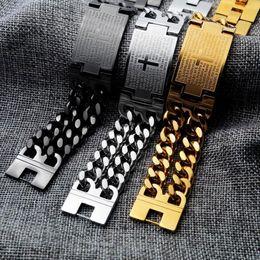 $enCountryForm.capitalKeyWord NZ - Mens 22.5mm Width 18K Gold Plating ID Cuban Bracelets 316L Stainless Steel Jesus Spanish Bible Lord's Prayer Cross Bracelet Hip Hop Jewelry