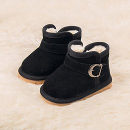 $enCountryForm.capitalKeyWord Australia - New Infant Newborn Baby Soft Sole Boots Toddler Solid Buckle 15 16 17 18 19 Winter Shoes Casual Round Toe