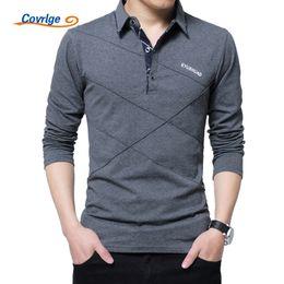 Black Polo Men Australia - Covrlge Men Spring Mens Long Sleeve Polo Shirts Plus Size 3xl 4xl 5xl Brand Male Poles Solid Tee Shirt Mtp039 Q190525