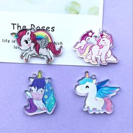 Unicorn charms online shopping - 10pcs Fashion resin Acrylic unicorn Charms for DIY decoration neckalce Bag key chain Jewelry Making accessories