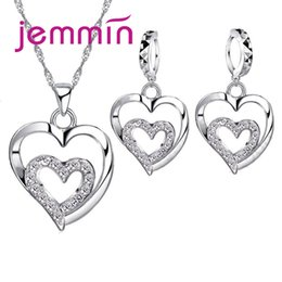 ladies jewerly 2019 - Jemmin True Love Heart Inside Heart Shape Pendant Necklace 925 Sterling Silver Jewerly For Woman Girls Lady Gift Wholesa