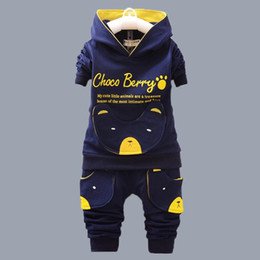 $enCountryForm.capitalKeyWord Australia - Newborn Kid Baby Girl Boy Outfits Cartoon printed cotton bear paw suit hooded 2pcs suit Set Autumn Winter Clothing