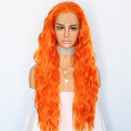 New wave loNg hair online shopping - Luckystar Wigs Halloween Cosplay New Orange Color Long Wavy Hair Party Wigs Heat Resistant Hair Gluless Synthetic Lace Front Wigs for Women