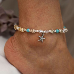 Discount sandals shells - wholesale Silver Bohemia Shell Starfish Anklets For Women Foot Jewelry Sandals Shoes Barefoot Beach Ankle Beach Jewelry