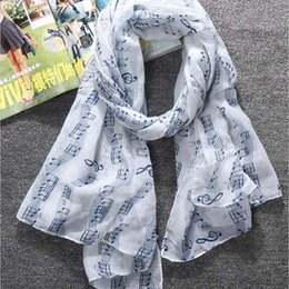 Wholesale Musical Scarves Australia - 2017 Balinese musical notes hooded scarf Women Large Long Voile Scarves Shawls Wraps Foulard Femme winter female handkerchief