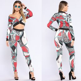 $enCountryForm.capitalKeyWord NZ - Women Clothes Two Piece Sets 2 piece Europe and America sexy gold chain print jacket top two-piece set Foreign trade leisure suit