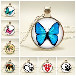 CaboChon Chain online shopping - 2019 New Blue Butterfly Pendant Necklace Glass Pendant Dome Cabochon Round Steampunk Necklace Jewelry for Women Men Gift