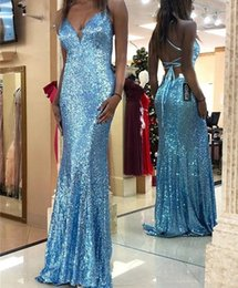 $enCountryForm.capitalKeyWord UK - Sky Blue Sequined Mermaid Prom Dresses Spaghetti Criss Cross Straps Sweep Train Long Formal Evening Party Gowns Dance Dress Plus Size Cheap