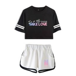 4c6eaf0652 Bts T Shirt Print Australia - New BTS Women Summer T shirts Cotton Printed  FAKE LOVE