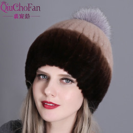 fur pom hats Australia - Winter for women real rex rabbit hat with fox pom poms fur knitted beanies 2018 new fashion good quality caps T200104 s