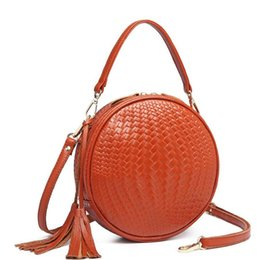 Orange circles online shopping - 2019 Rounds Leather Handbag Genuine leather Women Summer Bag Woven Beach Cross Body Bag Circle Bohemia Handbag Bali Lowest price