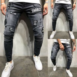 Winter Mens Mid High Waist Stretch Fashion Slim Fit zerrissene dünne Stretch Biker Zip Jeans-Bleistift-Hose-Hose