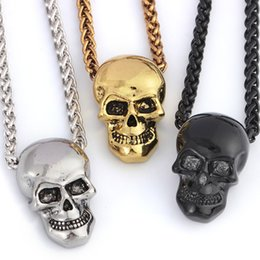 Wholesale Skull Pendant Necklace Men s Fashion Biker Rock Punk Jewelry Halloween Gift Gold Silver Black Plated Long Hip Hop Necklace Chain Length cm