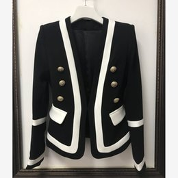 Wholesale HIGH QUALITY Designer Coat woman Blazer Jacket lady Classic Black White Color Block Metal Buttons fashion lady tops Blazer