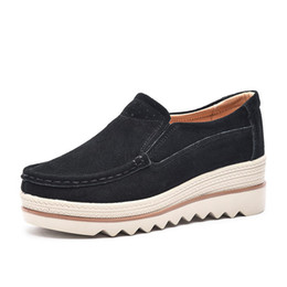 b8d7dd69448 Casual Real Leather Shoes Women Hidden Heels Thick Sole Sneakers Mother  Soft Comfortable Slip On Wedges Shoes Fashion Ladies Wedge Trainers
