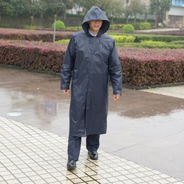 Nylon Coating Australia - Long Raincoat Men Black Waterproof Poncho Outdoor Nylon Rain Coat Men Male Jacket Parka Casaco Raincoats Hooded Overalls 50CW213 #16889