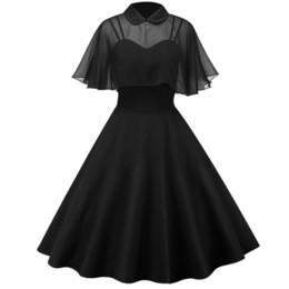 879bcadf076cd4 Vintage 50s Cloak Straps Formal Dresses Evening Party Swing Dress A-line  Elegant Turn-down Collar Dress Short Sleeve Solid