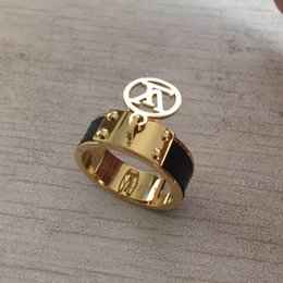 Jewelry brand logos online shopping - Top Quality L Titanium Steel Fashion Ring with Logo colors women original brand ring Jewelry For Wedding Gift Price