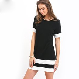 New Korean Ladies Summer Dress Australia - 2019 Summer Korean style Ladies Casual Mini Dresses New Autumn Style Black White Patchwork Crew Neck Short Sleeve Shift Dress