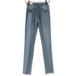 button high waist jeans Australia - Flare Pants Full Length Ripped Bleached Zippers Pockets Button Washed Scratched Jeans Woman High Waist Casual Regular Softener