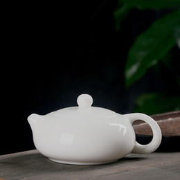 jade pots UK - XiShi Teapot old chinese stly ceramic simple ball hole kung fu tea set jade white porcelain single pot tea maker well