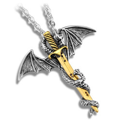 Wholesale ZRM Fashion Vintage Charm Pterosaurs Sword Necklace Flying Dragon With Wings Rolled Sword Cross Punk Necklace Jewelry Men Women