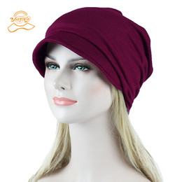 crochet hat for ladies Australia - with brim Hat Women Crochet Knit Cap Winter Skullies Beanies Warm Caps Female Knitted Stylish Hats For Ladies Fashion