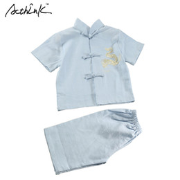 $enCountryForm.capitalKeyWord Australia - wholesale Children Summer Linen Short Tang Suit for Boys Chinese Style Kids Embroidery Dragon Boys Summer Beach Clothing