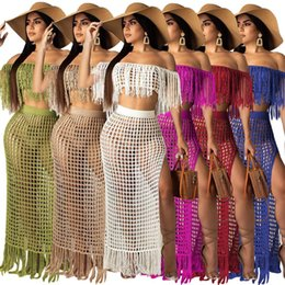 $enCountryForm.capitalKeyWord Australia - Richietrade Casual Knitted Women Skirt Set Slash Neck Crop Top Long Slit Skirt Hollow Out Beach Suit Two Pieces Women Set