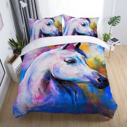 $enCountryForm.capitalKeyWord NZ - 3D Horse Bedding Set Animal Print Duvet Cover Set Bedclothes Pillowcase Comforter Cover ropa de cama oil painting bedding 5