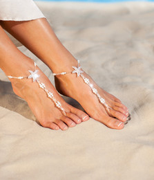 Wholesale Summer Starfish Pearls Bridal Feet Anklet Bracelet Chain Beach Vacation Sexy Leg Chain Female Anklet Foot Jewelry Chain Bridal Accessories