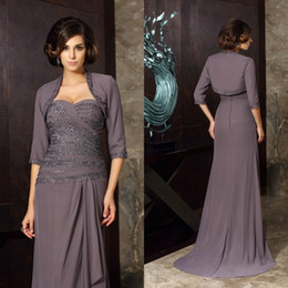 Mother Bride Floor Length Jacket Dress Australia - 2019 Fashion Mother of the Bride Dresses with Jacket Sweetheart Chiffon Evening Gowns Custom Made Floor Length Wedding Guest Dress
