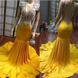 Black Beaded Dress Plus Size Australia - 2019 Yellow Sexy V Neck Prom Dresses Long Sleeve Plus Size See Sheer Crystal Beaded Evening Gowns Sexy Black Girl Graduation Dresses